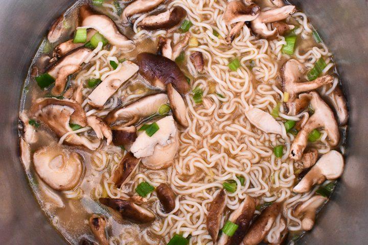 ramen noodles in a pot