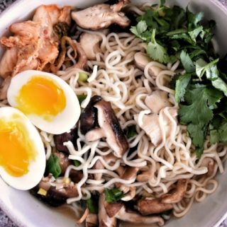 mushroom ramen noodles with an egg