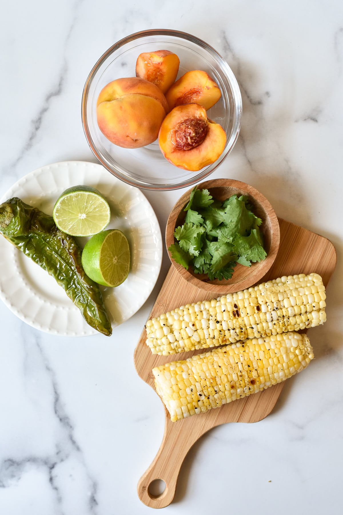 ingredients for peach salsa