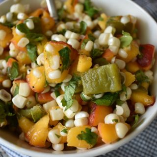 bowl of corn and peach salsa