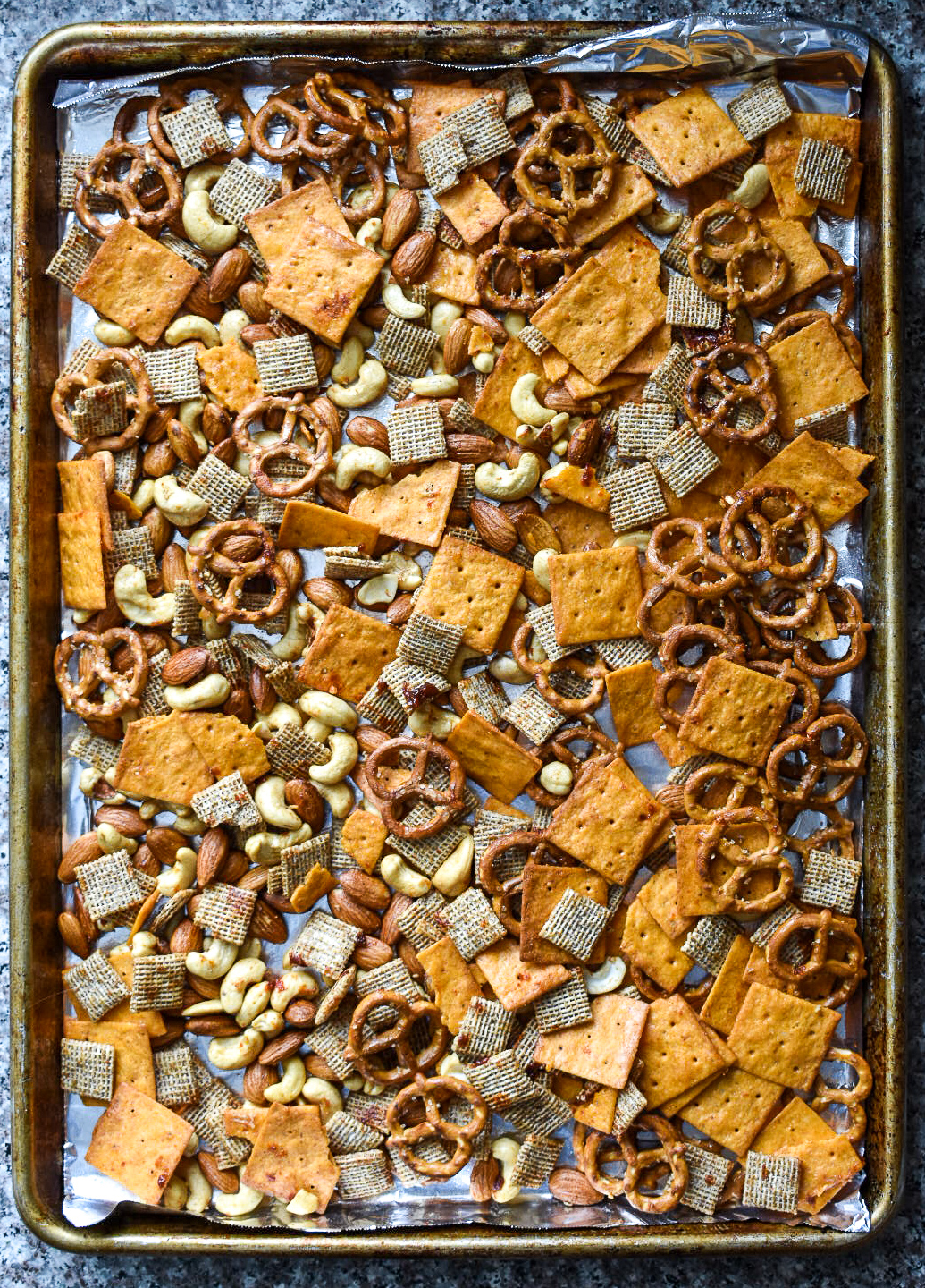 sheet pan of snack mix