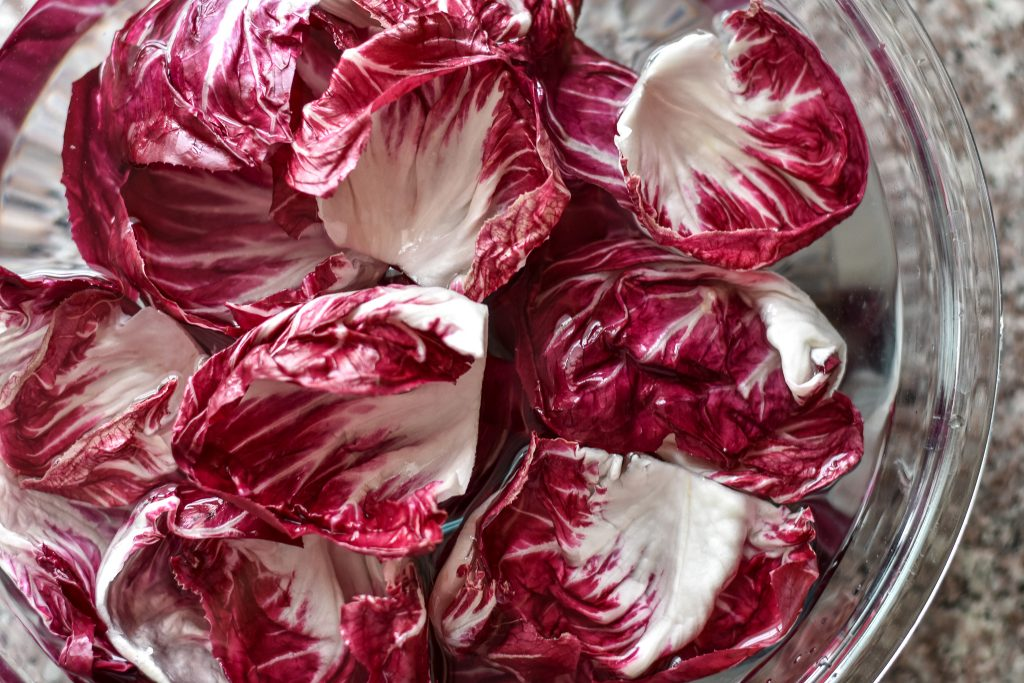 radicchio leaves soaking in water