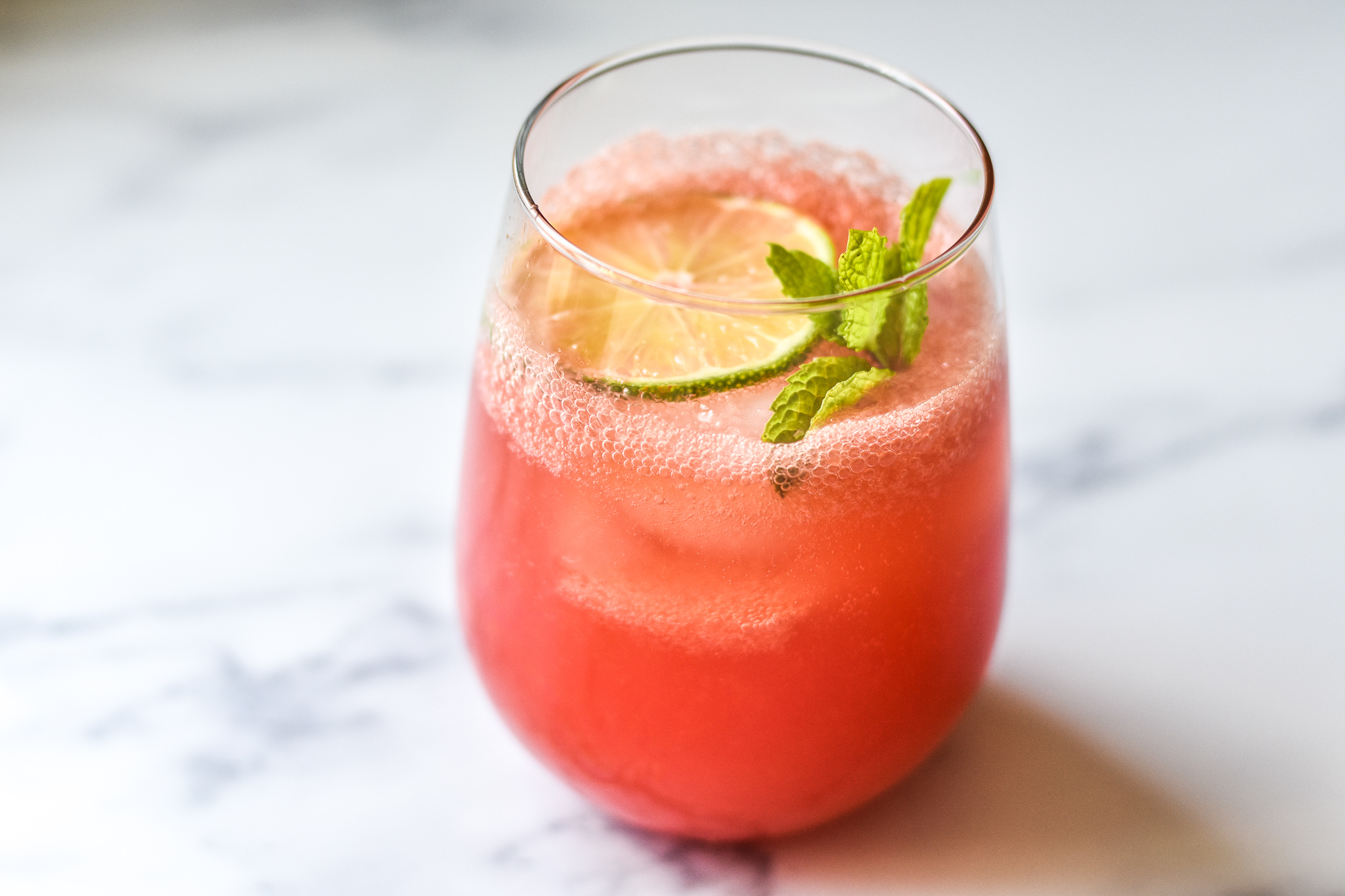 watermelon mint lime in a glass