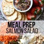 salmon salad with crackers and fruit