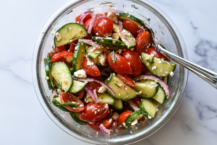 bowl of cucumbers tomato salad