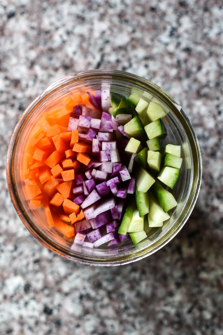 julienned vegetables in a jar