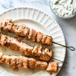 salmon skewers with sauce