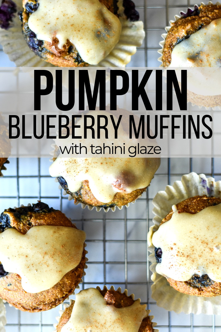 pumpkin blueberry muffins on a cooling rack