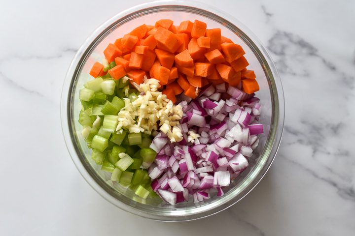 mirepoix in a bowl