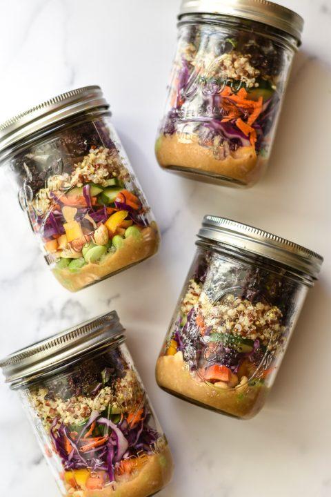 Rainbow Quinoa Salad Jars with Peanut Miso Dressing