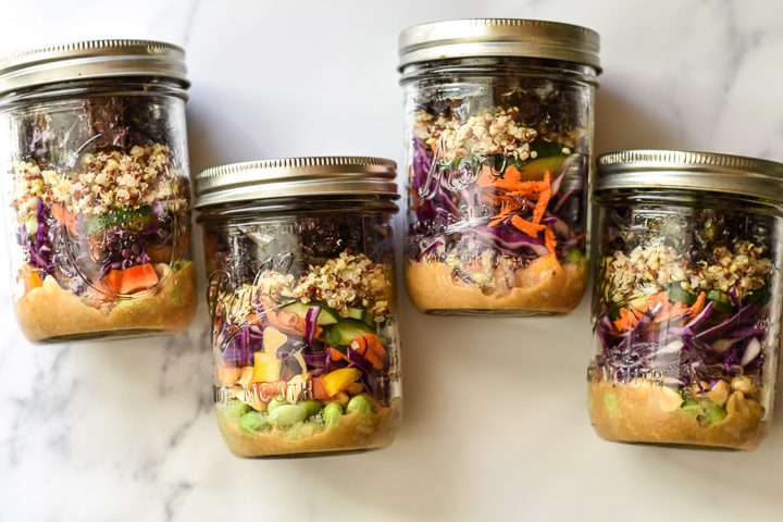 thai quinoa salad jars lined up