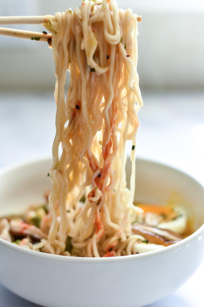 ramen noodles on chopsticks