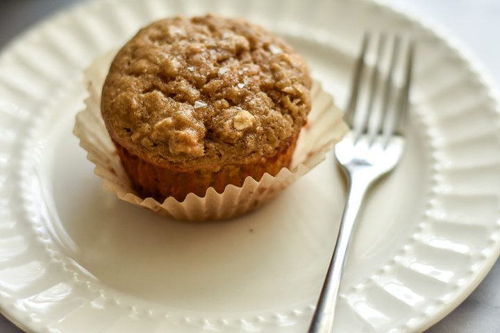 muffin on plate with fork