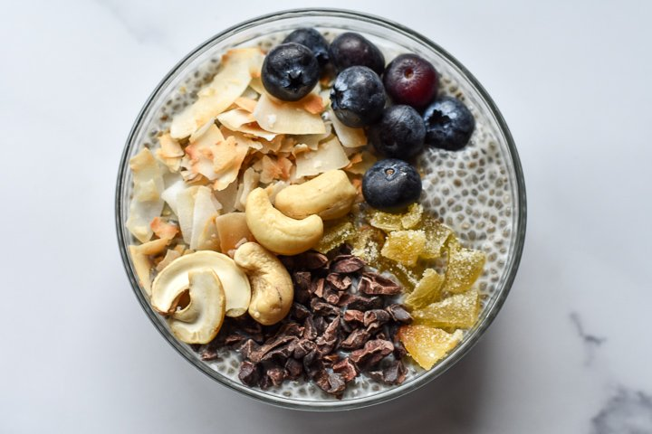 chia pudding with toppings in a bowl