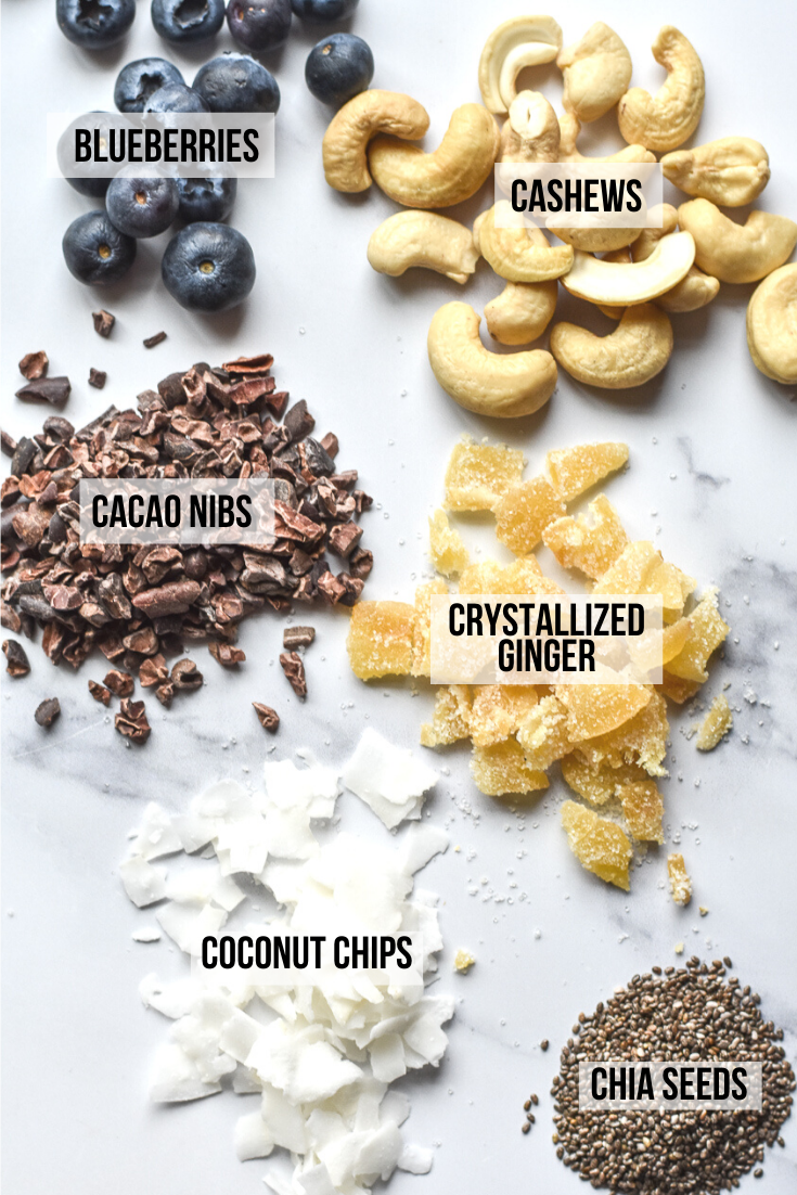 ingredients for coconut chia pudding with ginger and cacao