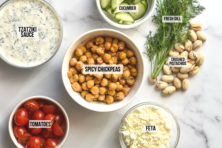 ingredients for chickpea bowls