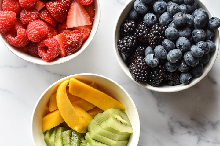 assorted fruit in bowls
