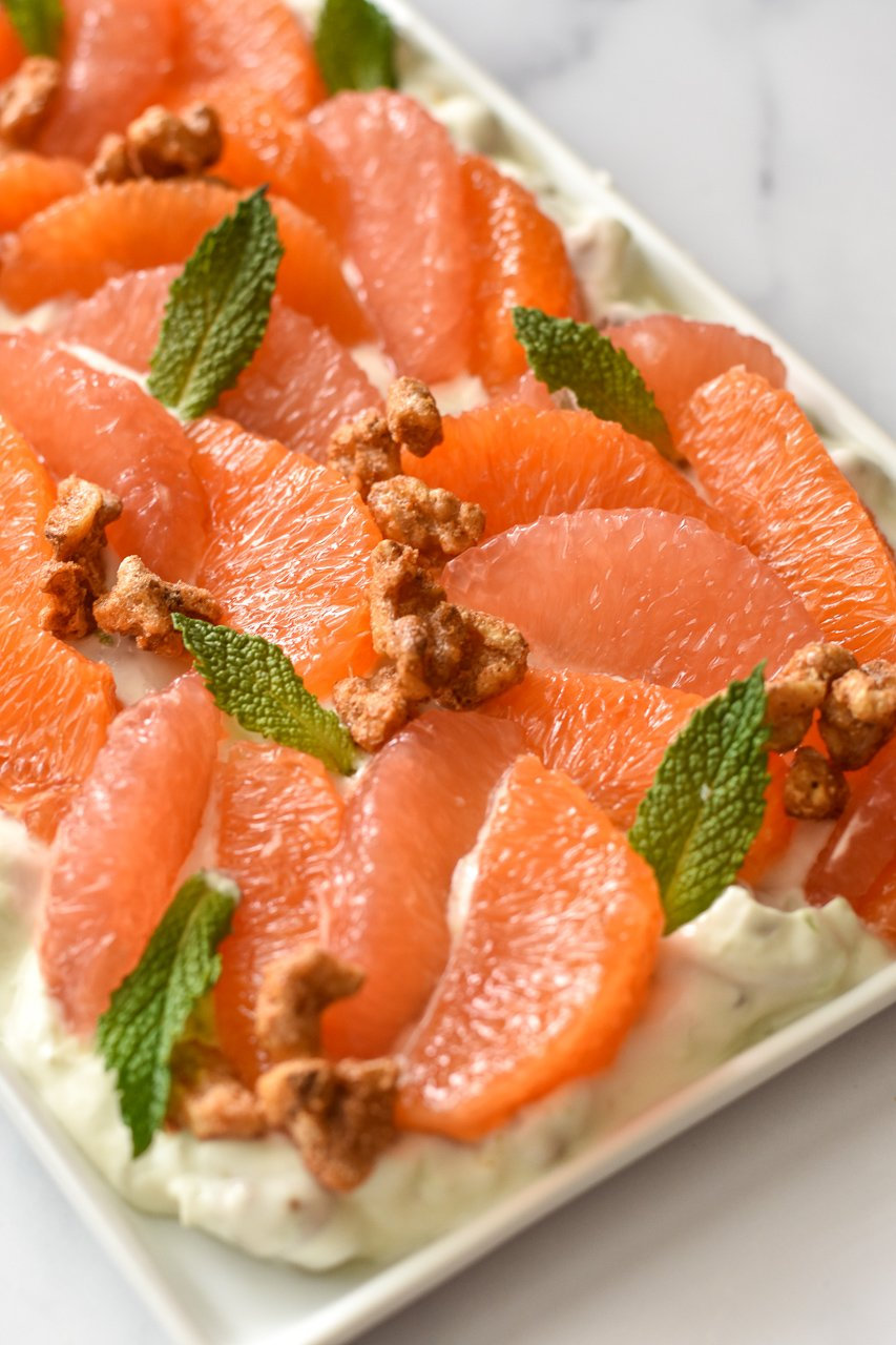 grapefruit and orange segments with mints and walnuts