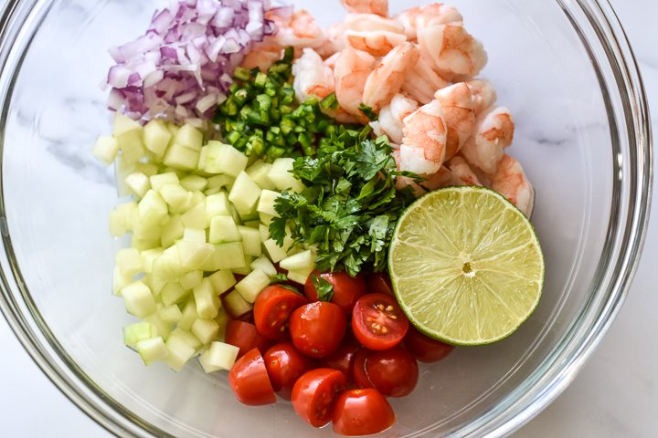 ceviche ingredients separated in a bowl
