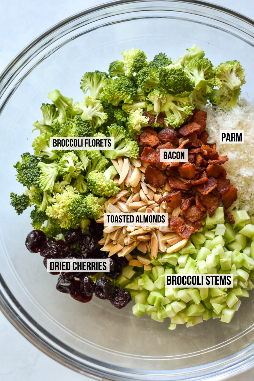 ingredients for broccoli crunch salad with labels