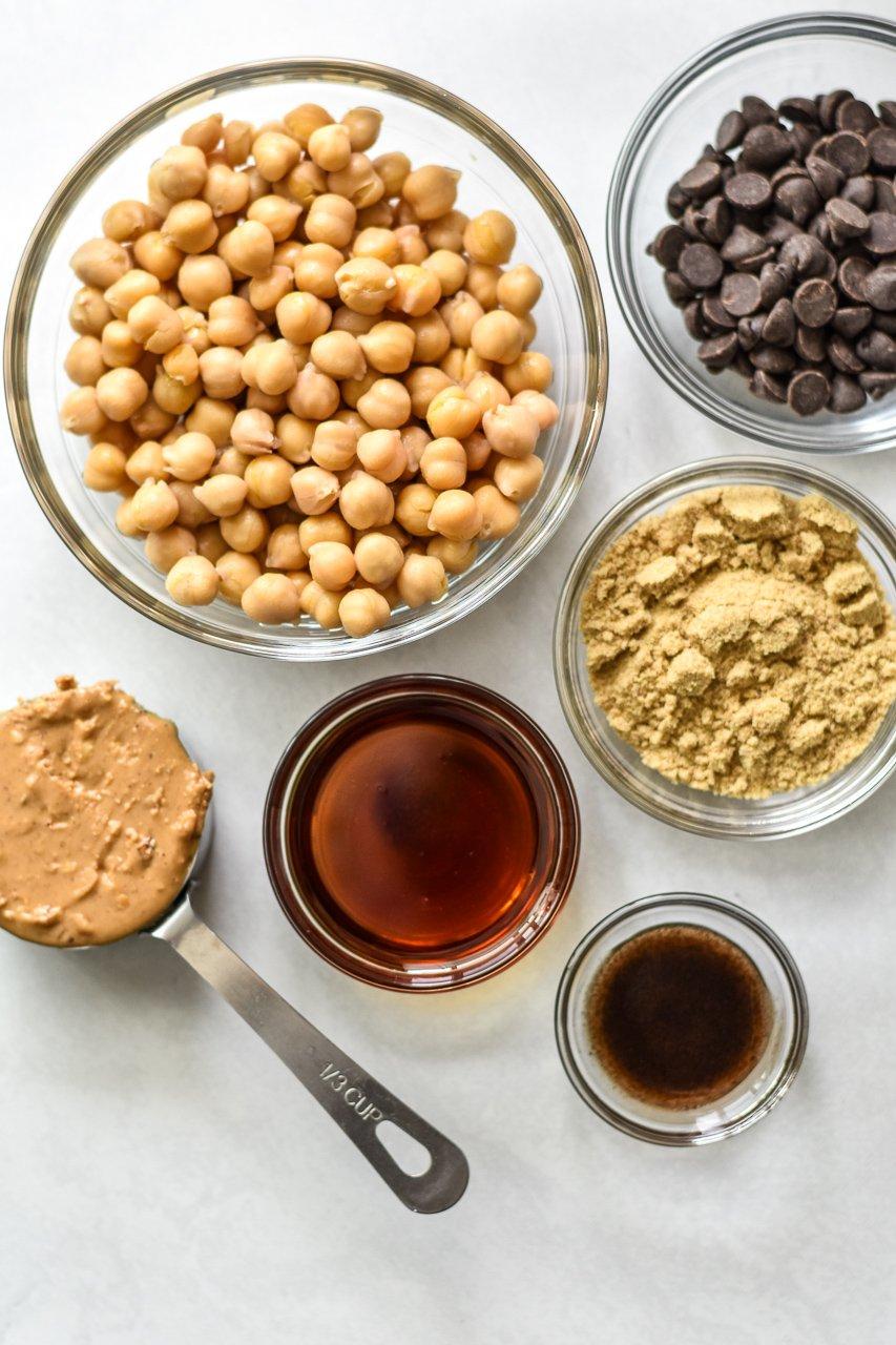 ingredients for vegan chickpea cookie dough