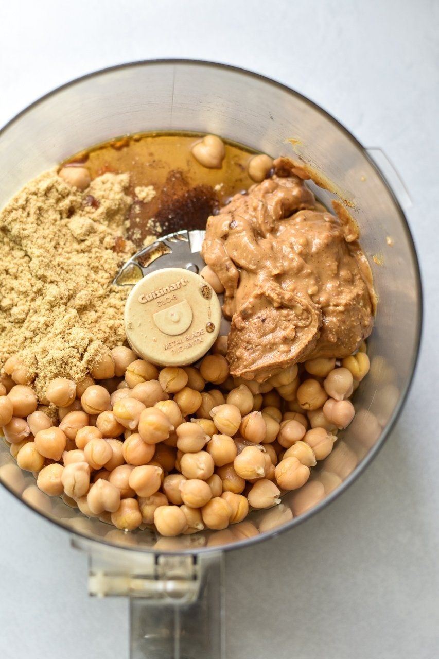chickpea cookie dough ingredients in food processor