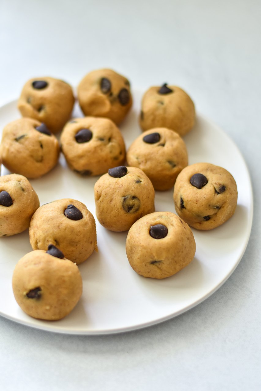 vegan chickpea cookie dough bites on a white plate