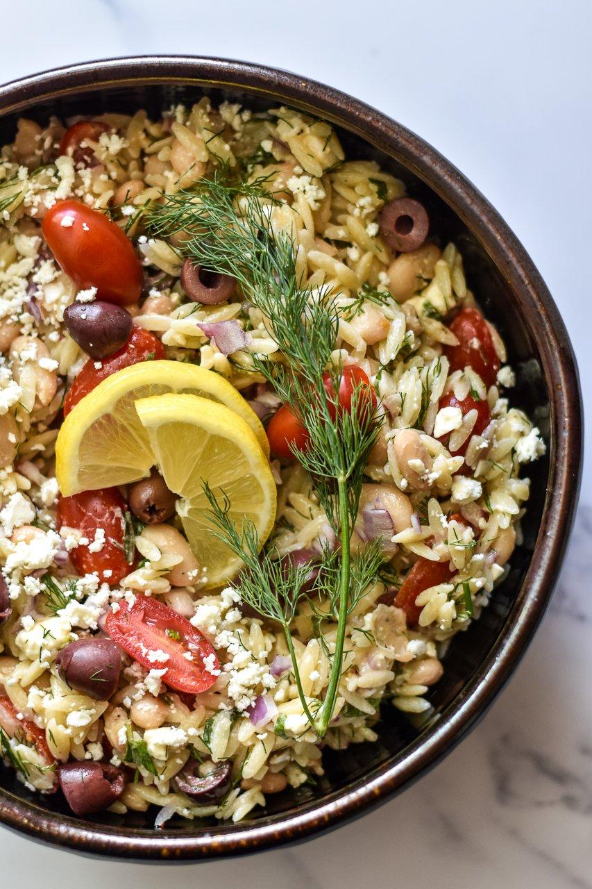 Greek Orzo Salad with Lemon Dijon Dressing