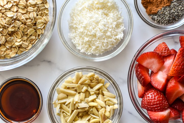 ingredients for strawberry overnight oats with coconut milk