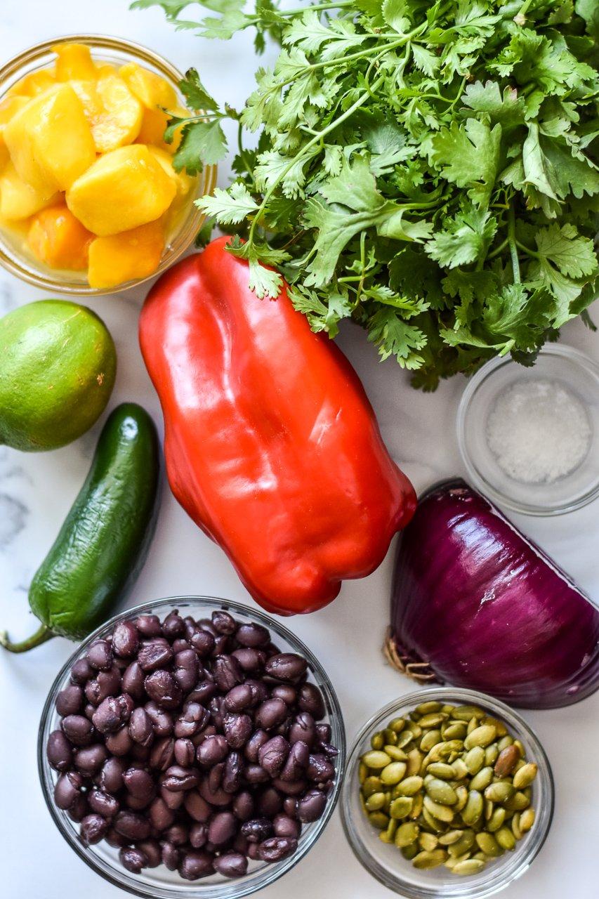 ingredients for mango black bean salsa