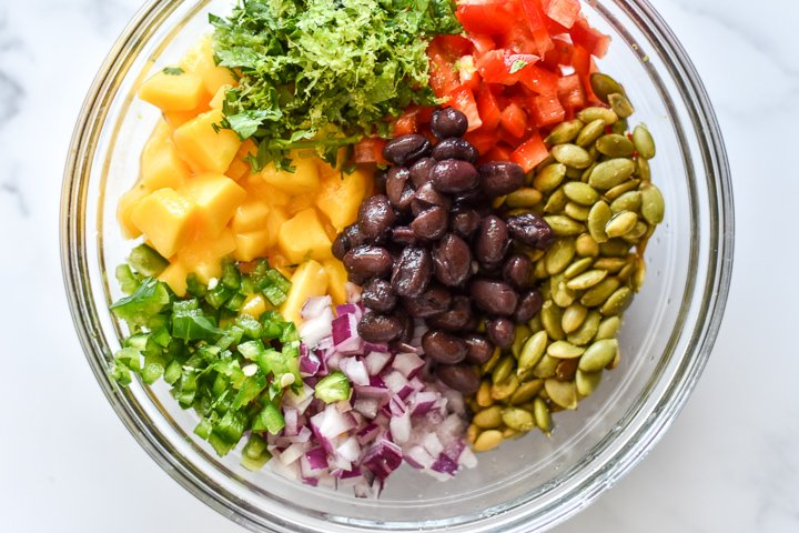 chopped salsa ingredients in a bowl