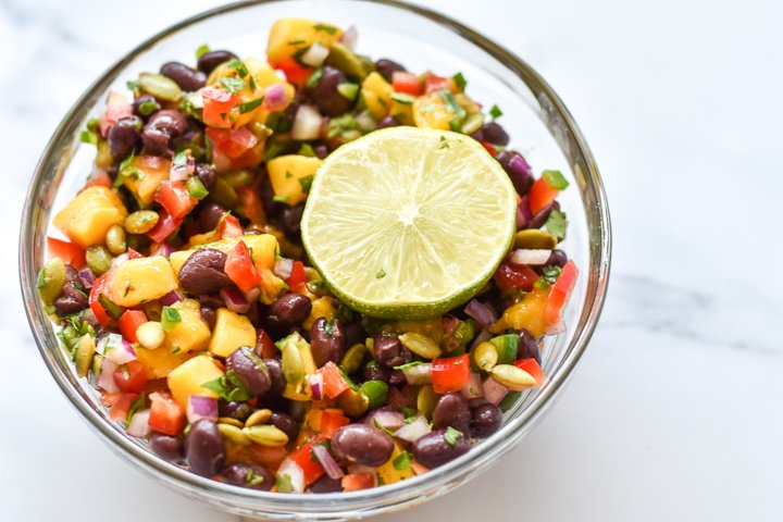 mango black bean salsa in a bowl