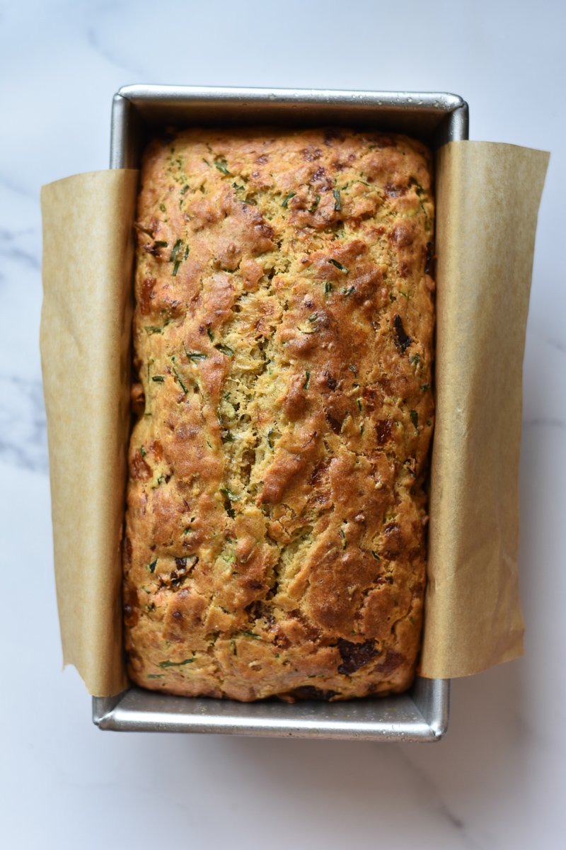 zucchini bread in a loaf pan