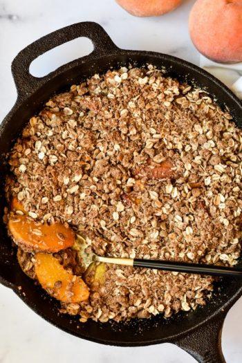 Tahini Cardamom Peach Crisp