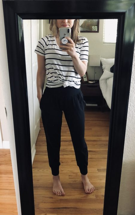 striped shirt and joggers