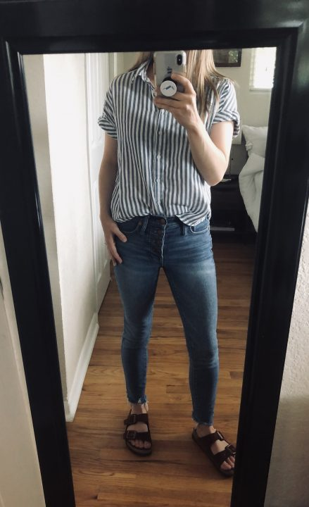 madewell jeans and striped banana republic shirt