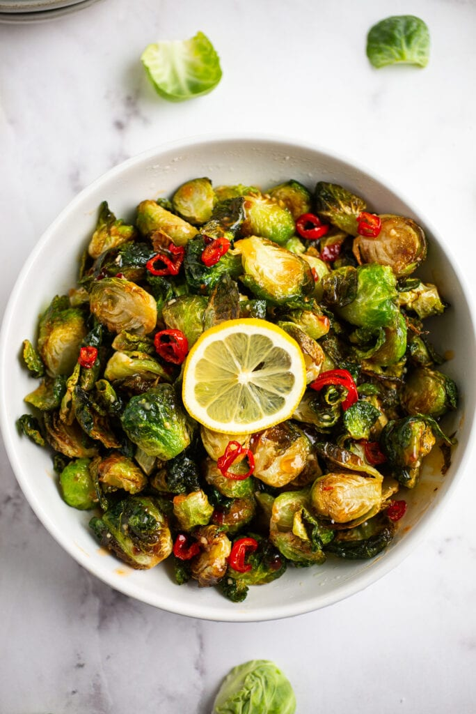 crispy fried brussels sprouts in a bowl