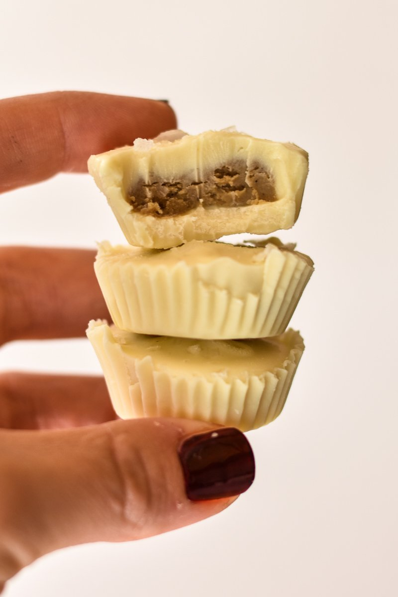 stack of three white chocolate sunflower seed butter cups