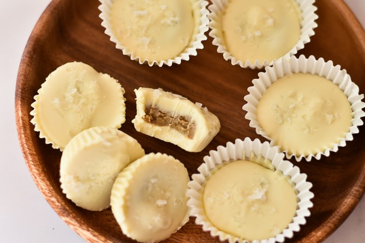 plate of white chocolate nut butter cups