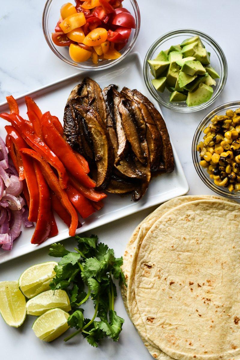 portobello mushroom fajitas ingredients including toppings