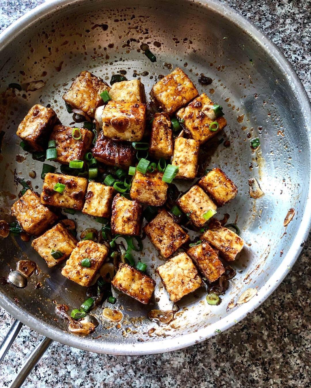 black pepper tofu in a skillet