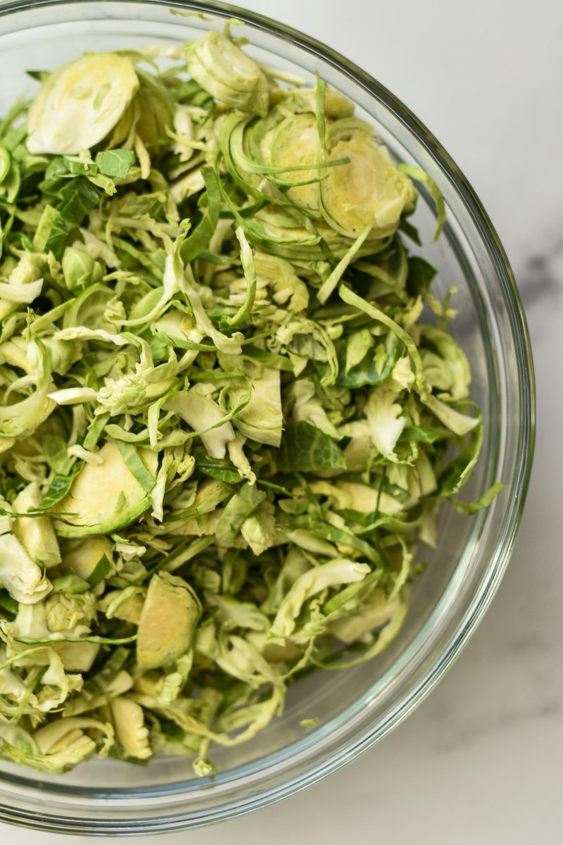 bowl of shaved brussels sprouts