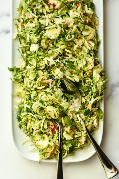 Shaved Brussels Sprouts Salad with Maple Mustard Dressing