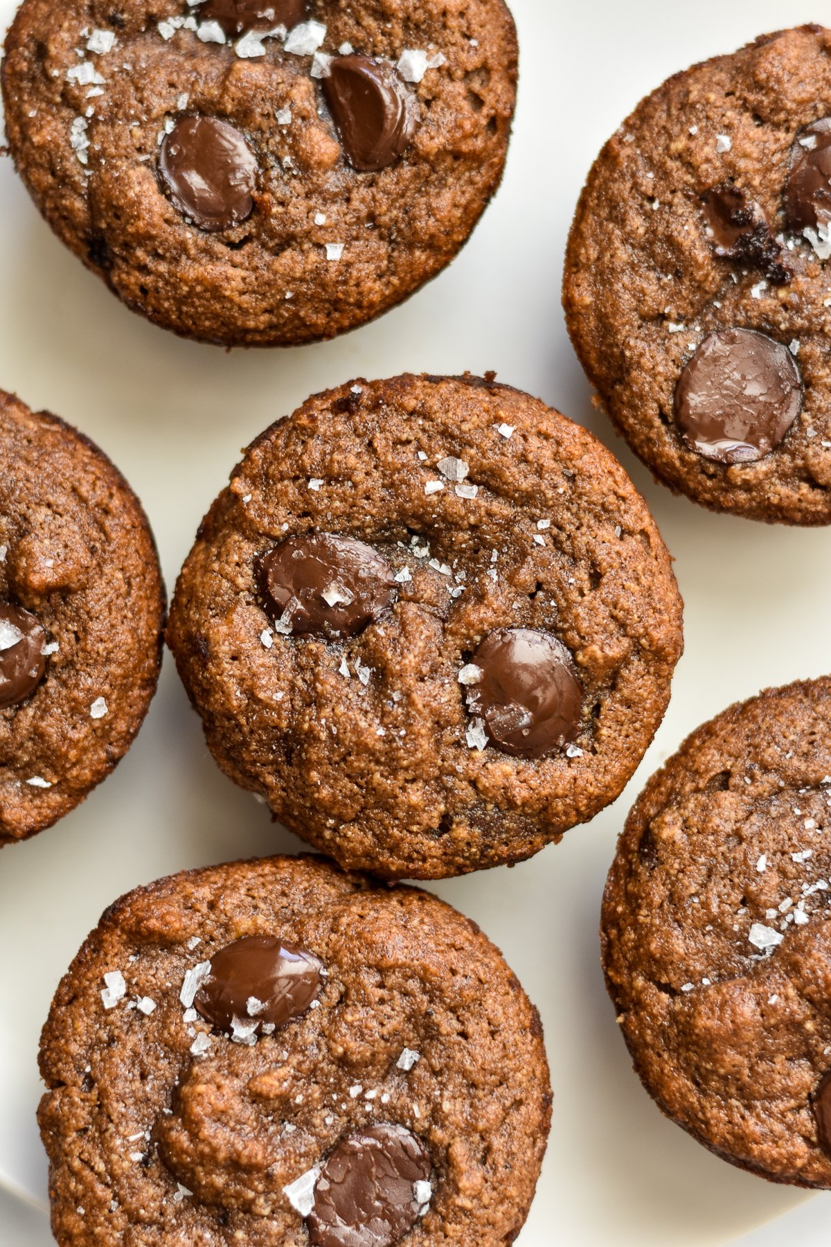 almond flour banana muffins with chocolate chips and flaky salt
