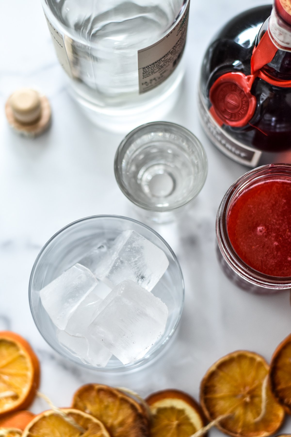 ingredients for a cranberry ginger margarita
