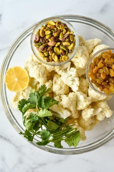 Roasted Cauliflower with Tahini, Nuts & Dried Fruit