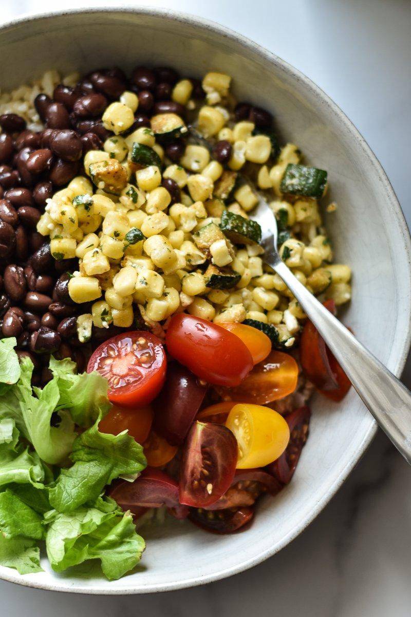 vegetarian burrito bowl closeup