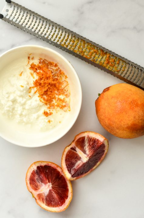ricotta cheese with orange zest a microplane and blood oranges