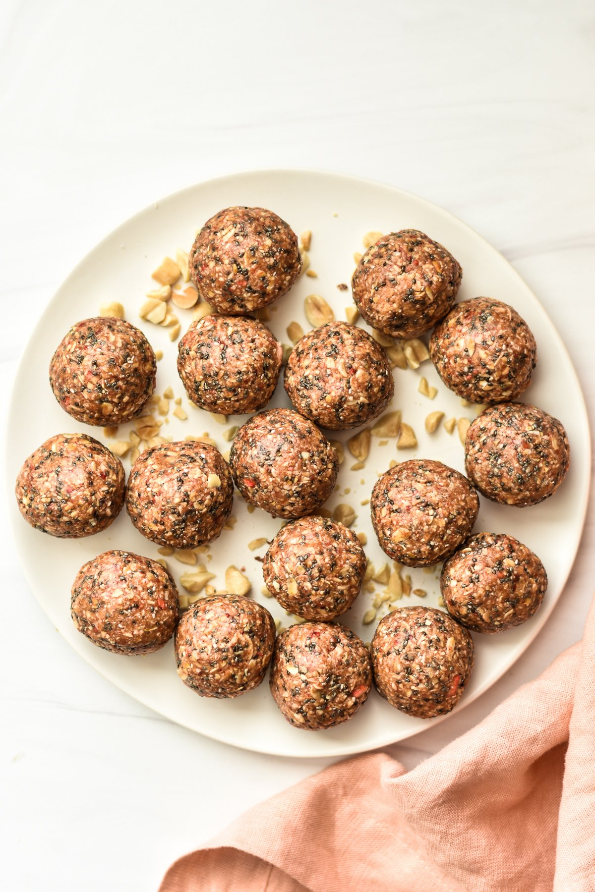 peanut butter and jelly oatmeal energy bites on a plate