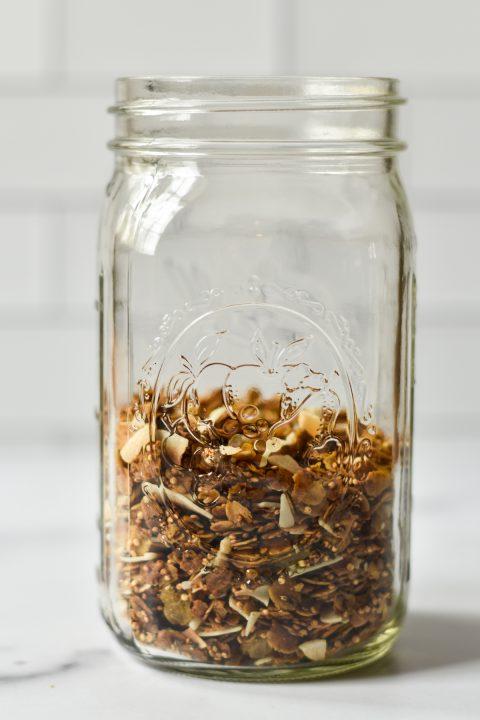 large jar of nut free granola